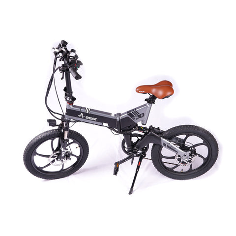 AEST Folding Electric Bike 20 Inch Wheels Convenient Folding E-Bike, 48v Battery Charger -White - edragonmall.com