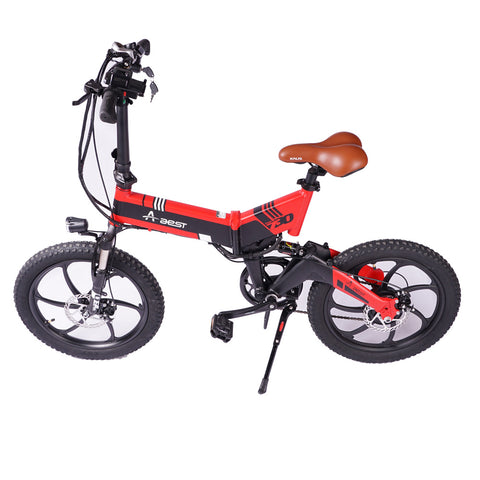 AEST Folding Electric Bike 20 Inch Wheels Convenient Folding E-Bike, 48v Battery Charger -Orange - edragonmall.com