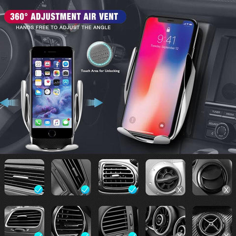 S5 Fast Wireless Car Charger Automatic Infrared Sensor Easy
