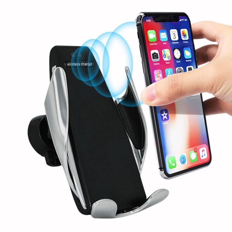 S5 Fast Wireless Car Charger Automatic Infrared Sensor Easy Operation  Auto-Clamp Car Smart Phone Mount Air Vent Holder Charger