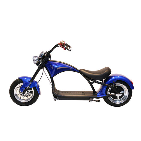 X1 Harley Electrocar car 2000W Citycoco Electric Scooter Fat Tire Motorcycle-Blue