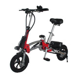 R12 36V 6A Lithium Battery Aluminum Alloy Folding Bicycle for Adults, Lightweight Aluminum Frame -Red