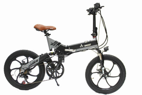 ebike 20inch 7speed aluminum Suspension Folding electric bicycle- Black - edragonmall.com