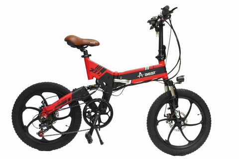 ebike 20inch 7speed aluminum Suspension Folding electric bicycle - Black&Red - edragonmall.com