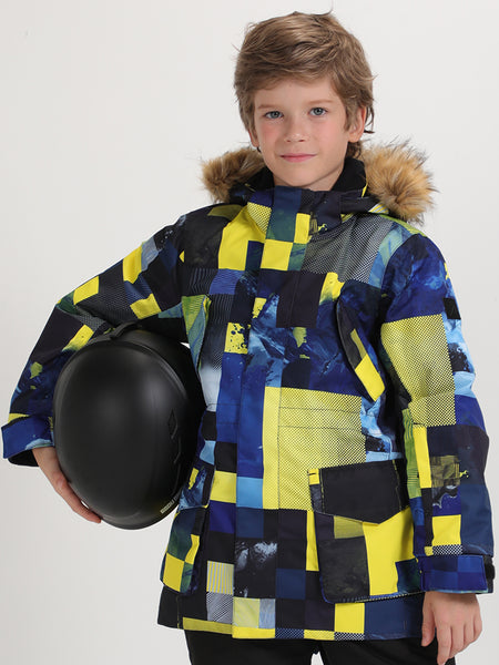 Snow Yellow Plaid Winter Waterproof Kids Colorful Snowboard Jacket
