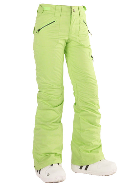 Gsou Snow Thermal Waterproof Windproof Fluorescent Green Women's Snowboard/Ski Pants