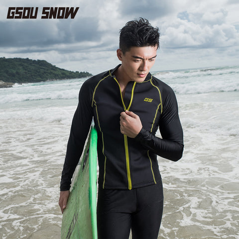 Gsou Snow Men's Quick Dry Black Long Sleeve Swimsuit Surf Wetsuit Suit Front
