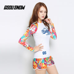 Gsou Snow Women's Yellow Print Long Sleeve Shorts Surf Wetsuit Suit