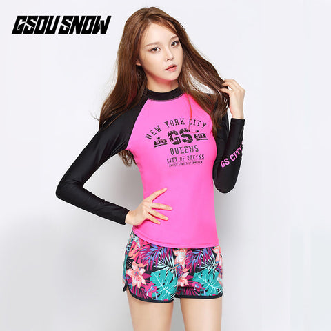 Gsou Snow New Pink Women Long Sleeve Shorts Swimsuit Wetsuit Suit Front