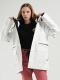 Womens White Ski Jacket 15K Windproof and Waterproof Snowboard Jackets