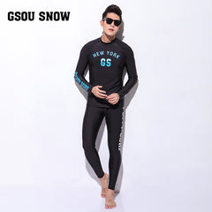 Gsou Snow New Men's Black Long Sleeve Swimsuit Surf Wetsuit Suit Front