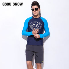 Gsou Snow Casual Men's Long Sleeve Shorts Swimsuit Surf Wetsuit Suit Front