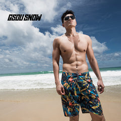 Gsou Snow New Men's Beach Resort Casual Print Surf Beach Shorts Front