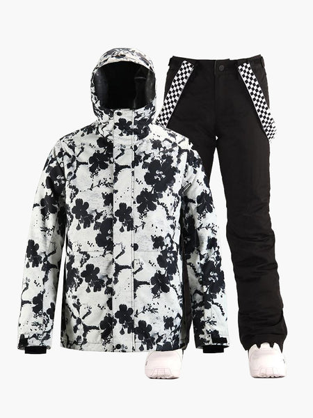 15K Windproof & Waterproof Printed Style Fashion Ski and Snowboard Suit