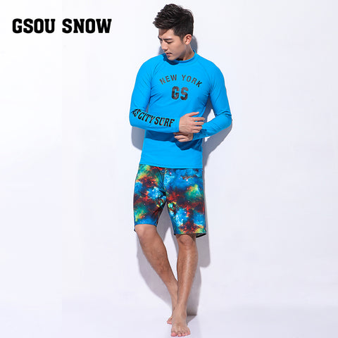 Gsou Snow Men's Sky Blue Long Sleeve Shorts Swimsuit Surf Wetsuit Suit Front