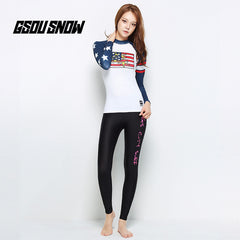 Gsou Snow New Women's White Long-Sleeved Swimsuit Surf Wetsuit Suit Front