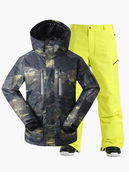 15K Windproof & Waterproof ArmyGreen Ski Jacket and Pants Set Snow Suit Ski and Snowboard Suit