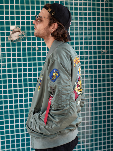 Men's BF Style Spring Autumn Green Flight Jacket