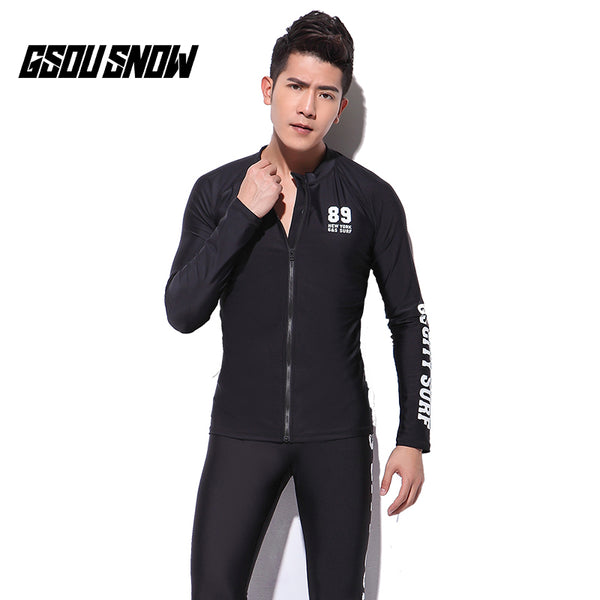 Gsou Snow New Men's Zip Black Long Sleeve Swimsuit Surf Wetsuit Suit Front