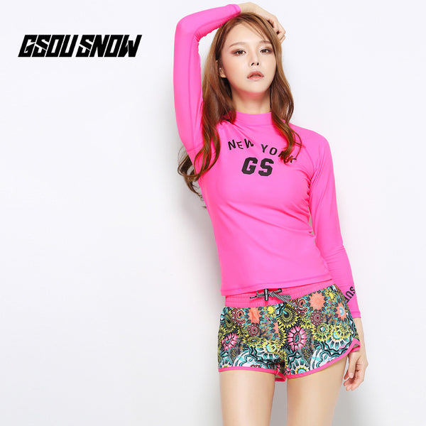 Gsou Snow Fashion Women's Pink Print Casual Quick Dry Beach Shorts Front