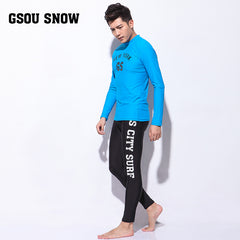 Gsou Snow New Men's Sky Blue Long Sleeve Swimsuit Surf Wetsuit Suit