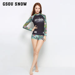 Gsou Snow Women's Yellow Printed Shorts Surfing Swimming Snorkeling Front