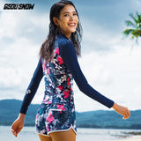 Gsou Snow Blue Print Women Long Sleeve Shorts Swimsuit Wetsuit Suit