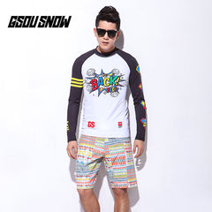 Gsou Snow Long Sleeve Shorts Men's Swimsuit Surf Wetsuit Suit Front