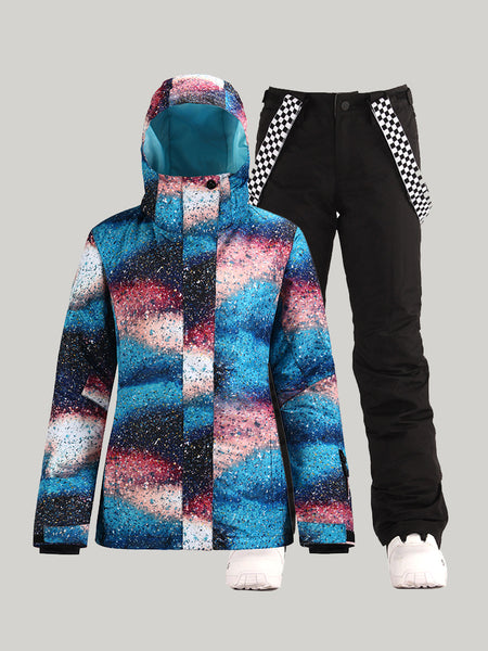 SMN New winter women's snow suit warm quilted waterproof and windproof thickened single and double board ski suit