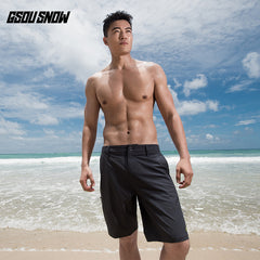 Gsou Snow Men's Casual Quick Dry Grey Beach Shorts Swim Trunks front