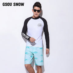 Gsou Snow New Long Sleeve Shorts Swimsuit Surf Wetsuit Suit For Men's Front