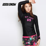 Gsou Snow Black Long Sleeve Shorts Women's Swimsuit Wetsuit Suit