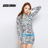 Gsou Snow Women Blue Leopard Quick-Drying Beach Shorts Wetsuit Shorts Front