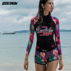 Gsou Snow New Women's Pink Print Long Sleeve Shorts Surf Wetsuit Suit Front
