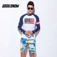 Gsou Snow Men Long Sleeve Shorts Quick-Drying Swimsuit Wetsuit Suit Front