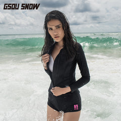 Gsou Snow Black Women's Long Sleeve Shorts Swimsuit Surf Wetsuit Suit