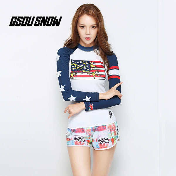 Gsou Snow New Long Sleeve Shorts Women's Split Swimsuit Wetsuit Suit Front