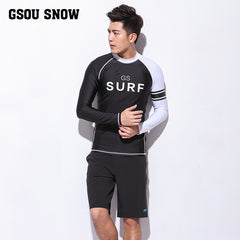 Gsou Snow Men Black Long Sleeve Shorts Quick-Drying Surf Wetsuit Suit Front