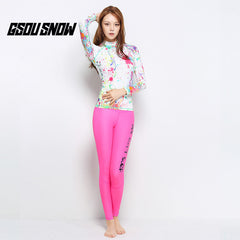Gsou Snow New Pink Print Women Long Sleeve Swimsuit Surf Wetsuit Suit Front