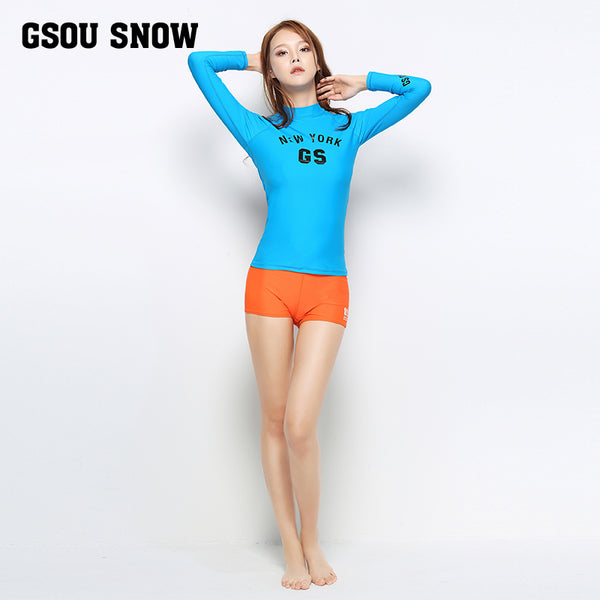 Gsou Snow New Women's Blue Long Sleeve Shorts Swimsuit Wetsuit Suit Front