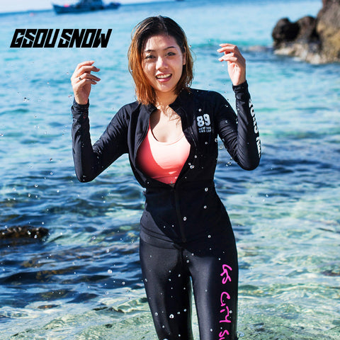 Gsou Snow Women's Zip Black Long Sleeve Swimsuit Surf Wetsuit Sui Front