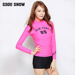 Gsou Snow New Women's Pink Long Sleeve Shorts Swimsuit Wetsuit Suit  Front