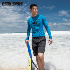 Gsou Snow New Black Casual Surf Beach Shorts For Men's Beach Resort Front