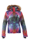 Brand Winter Women's Colorful Fur Hooded Windproof Ski Jacket
