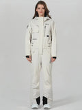 Women's Winter Snowsports White One-piece ski jumpsuit full-body ski suit