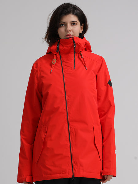 Womens Red Ski Jacket 10K Windproof and Waterproof Snowboard Jacket,Machine washable