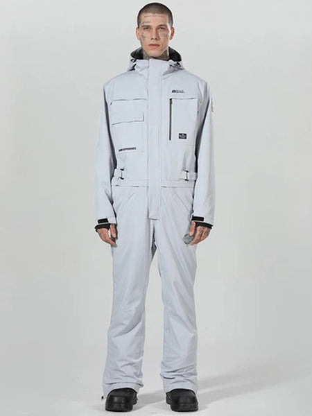 Men's Winter Snowsports Gray One-Piece Ski Jumpsuit Full-body Ski Suit