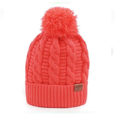 Gsou Snow Winter Knit Faux Fur Pompoms Beanie Hat