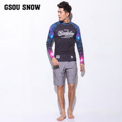 Gsou Snow Long Sleeve Shorts Men's Quick-Drying Swimsuit Wetsuit Suit Front