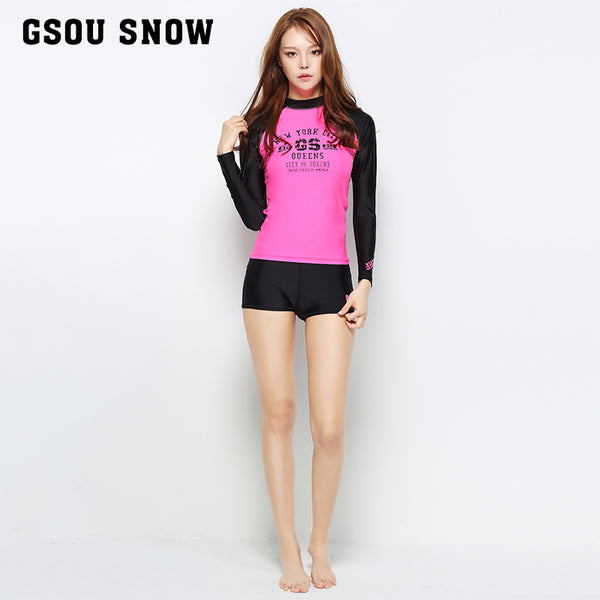Gsou Snow Fashion Pink Women Long Sleeve Shorts Swimsuit Wetsuit Suit Front